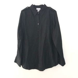 Soft Surroundings XL Roll Tab Button Front Shirt